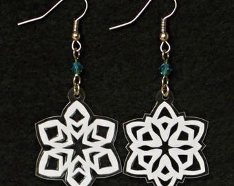 Hand-Cut Paper Snowflake Earrings Tiny