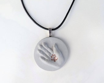 Necklace concrete * forever one * no. 2 - hand & paw - rose gold-bronze-gold - gift -.