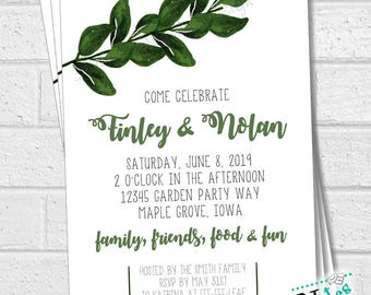 Greenery Rehearsal Dinner Invitation, Garden Party Invitation, Outdoor Wedding Invitation, Engagement Party Invite, Outdoors  | PRINTABLE