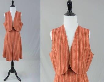 70s Culottes - Melon Pink Brown Stripe w/Matching Vest - Wide Leg Shorts Gauchos Split Skirt - Vintage 1970s - S M