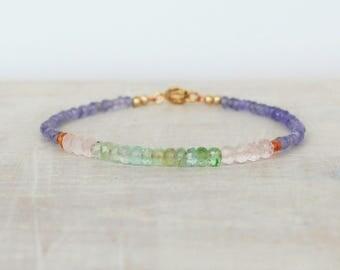 Beaded Tourmaline Bracelet, Ombre Tourmaline & Tanzanite Bracelet, Multi Gemstone Bracelet, Pastel Tourmaline Bracelet, Tourmaline Jewelry