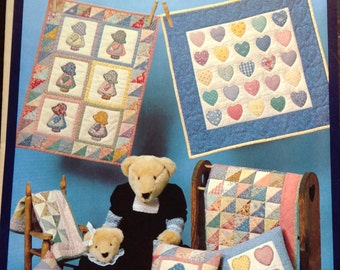 Friends little quilt collection, Sunbonnet Sue quilt, small quilts. Little  Quilts, Triangle Scrap Quilt,  Candy Hearts Quilt, doll pillows