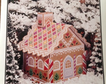 Gingerbread House, cross stitch gingerbread House, perforated paper gingerbread house, vintage gingerbread house, Christmas house