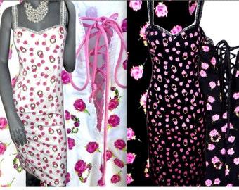 BETSEY JOHNSON Rose Floral Multi Color Corset/Lace-Up Bust Spaghetti Strap Knee Length Sundresses M/L
