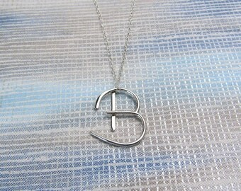 Silver Letter B Necklace, Initial B Pendant, Monogram B, B Initial Necklace