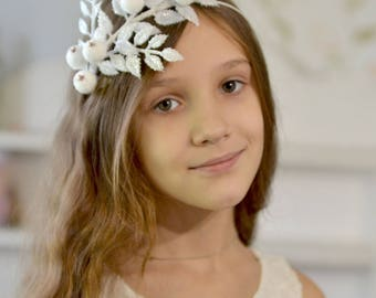 Crown snow twigs headband Christmas crown snow berries Christmas accessory hair Fairy Christmas headband snow leaves crown Snow Queen tiara