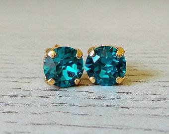 Blue Green Studs, Blue Zircon Studs, Swarovski Crystal, summer studs, 8mm studs, summer jewelry