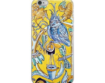 iPhone case Moorish Spanish design with blue and yellow birds