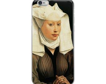 Woman's portrait iPhone case with fine art 15th century Early renaissance Flemish female painting
