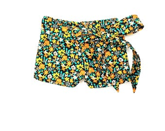 Sash Shorts, Floral, Black, Orange, Turquoise, Multi-color, Flowers, Fits dolls such as American Girl, 18 inch Doll Clothes, Print Shorts