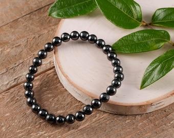 SHUNGITE Power Bracelet - Stretch Bracelet, Shungite Jewelry, Shungite Stone, Polished Stone, Healing Crystal, Healing Stone E0495