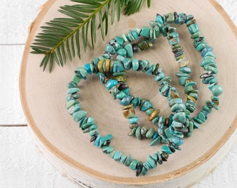 Chinese TURQUOISE Chip Bracelet - Turquoise Crystal, Turquoise Jewelry, Stretch Bracelet, Turquoise Bracelet, Healing Stone Bracelet E0726