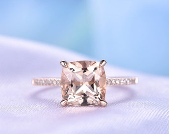 Morganite Engagement ring 14k Rose gold 8mm Cushion cut Pink Morganite Promise Bridal Ring Diamond Wedding Band Diamond Accent Claw Prongs