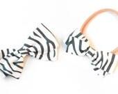 Zebra Hair Bow - Gray and white Bow - Nylon Headbands or Hair Clips for Girls
