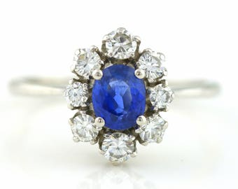 Diamond Sapphire French Art Deco 18ct White Gold Cluster Flower Ring