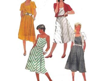 Simplicity 7425, 80s sewing pattern, size 12 women's sun dress pattern, unlined jacket pattern, flared skirt