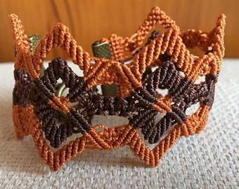 Handmade micro macrame bracelet with brown and orange c-lon thread. T-shaped closure