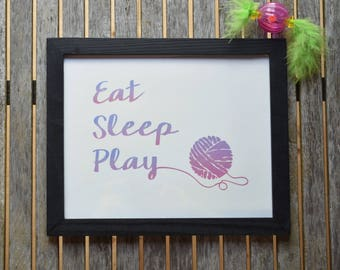 "Cat Print ""Eat Sleep Play"" Motivational Print Cat Art Cat Lover Wall Decor"
