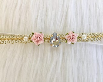 Flower Halo, Gold and pink Flower Halo, Baby Flower Headband