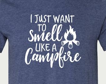 Campfire T Shirt, Womens TShirt, Camping Shirt, Camping T Shirt, Made to Order, T Shirts for Women, T Shirts with Sayings, TShirt Camping
