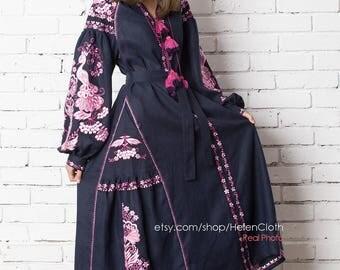 HANDMADE Vyshyvanka Embroidered Dress Linen Kaftan Mexican Dress Ukrainian Embroidered Dress boho Style Vyshyvanka Ethnic Ukrainian Clothing