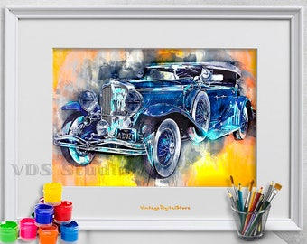 Retro car, Vintage Picture, Watercolor Effects, Digital Files Download  for transfer, Automobile wall art, garage wall decor, vintage poster