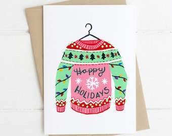 Happy Holidays Ugly Sweater Funny Cute Christmas Card 5x7