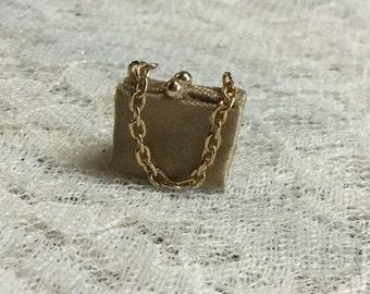 Dollhouse Miniature Gold Satin Purse/Clutch #14
