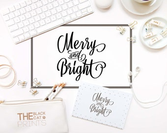 Merry and bright svg file Cricut svg design Digital cut file Winter svg file Christmas svg cut Vector graphic svg DXF eps png Silhouette