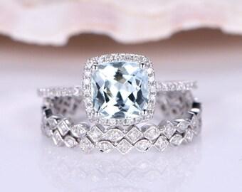 Wedding Ring Set Aquamarine Engagement Ring 7mm Cushion Cut Aquamarine Ring SH-I Diamond Matching Band Diamond Wedding Band 14K White Gold