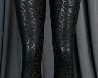 Dancewear Black Animal Print Leggings - Dance Wear Gymnastics Active Wear - Girls Size 10 12 Teen Size M