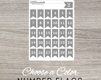 Number Flags - Choose a Color - Bullet Journal Stickers - Bujo Stickers - Planner Stickers