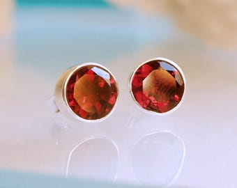 Red Garnet Earrings, Red Earrings, Garnet Stud, Sterling Silver Stud Earrings, Round Gemstone Post Earrings, January Birthstone Earrings