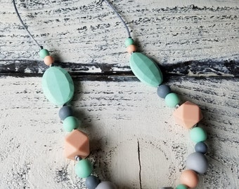 Mint,Grey,Peach,Silicone Teething Necklace,BPA-Free,Teether,Baby Shower Gift,Nursing Necklace,Baby Accessories,Chew Beads,Silicone Teether