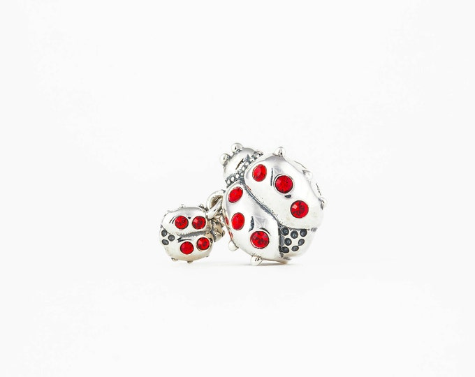 Ladybird Mom and Child Charm - 925 Sterling Silver Bead - Personalized Gift - Gift Packaging available - Birthday Gift-Christening Gift