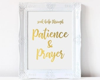 Seek help through patience and prayer, Islamic wall art, Instant Download