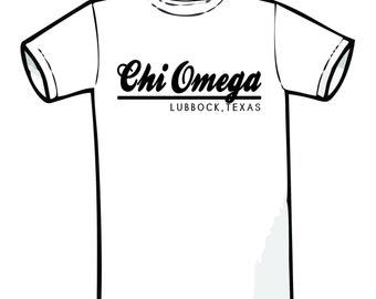 Chi Omega 118 City Shirt Comfort Color TShirt, Short Sleeve or Long Sleeve
