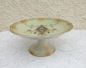 Antique Victorian Blushware Porcelain Comport/Cake Stand/Tazza by W Adams, England - c1910