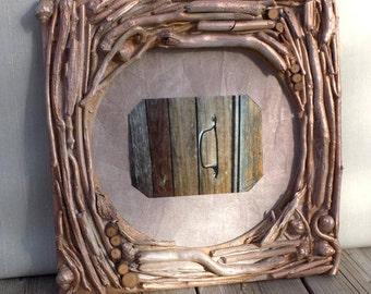 Cadre photos, support photos en bois flottés, encadrement photos cuivré, cadre photo fait main