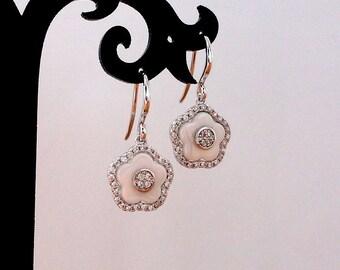 White wedding earrings gift for bridesmaids earrings wedding jewelry white flower earrings floral earrings white gold dangle earrings jm