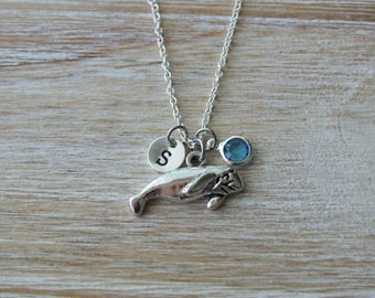 Manatee Lover Necklace, Sea Animal Lover Necklace, Sterling Silver, Birthstone Necklace, Monogrammed Gift, Gift under 20