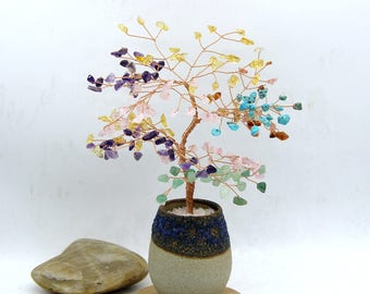 Chakra Wire Gemstone Tree Sculpture  Life of Tree Chakra Beads Lucky Tree Feng Shui Decor Tree Bonsai Yoga  Energy Healing Meditation Gift