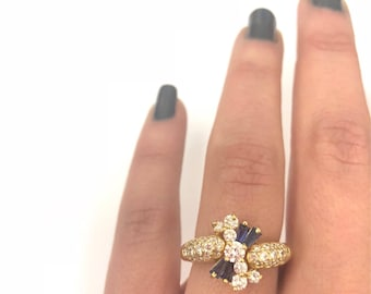 Solid 18K Yellow Gold, Natural Pavé Diamond, & Sapphire Ring, Size 6 3/4