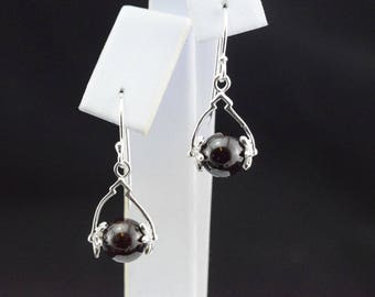 Earrings with Garnet beads and 925 sterling silver