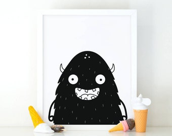 Monster, Nursery Print, Printable Art, Little monster print, kids room decor, Nursery Decor, Instant Download, Digital File, Artwork print