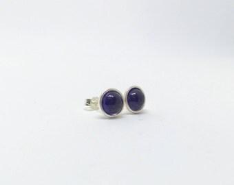 Iolite earrings, 925 sterling silver iolite studs, iolite stud earrings, round iolite earrings, silver iolite studs, silver gemstone studs