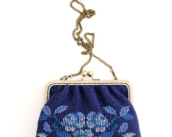 Beaded purse / Small purse / Vintage purse / Knit purse / Blue small purse/ Beaded purse/ Evening style purse / Everyday use purse