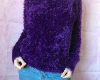 vintage 90s fluffy purple oversized sweater long sleeved outerwear pullover retro funky statement