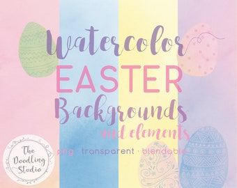 Watercolour Easter Background Textures and Elements - 9 BACKGROUNDS 4 EASTER EGGS (png, transparent, bendable) - Digital Download