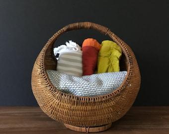Vintage Woven Rattan Basket | Handled Basket Catchall | Boho Basket